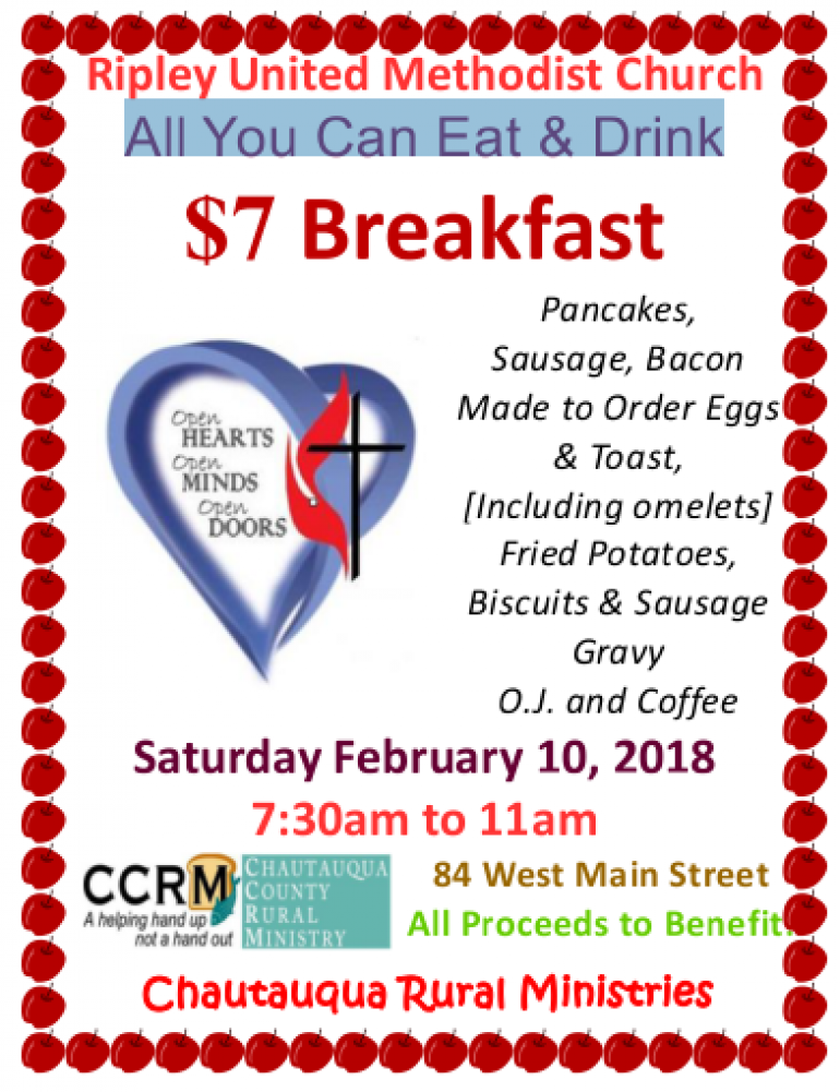 Ripley United Methodist Church is hosting an All-You-Can-Eat Breakfast